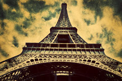 Eiffel Tower in Paris, Fance in retro style. Royalty Free Stock Photos