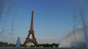 Eiffel tower in paris with fountain stock video footage