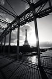 Eiffel tower in paris france. Black and white Stock Photos