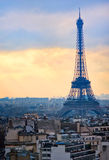 Eiffel tower in Paris, France. View of the Eiffel tower silhouette in the early morning stock photo