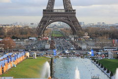 Eiffel Tower in Paris, France. Built in 1889, it has become both a global cultural icon of France and one of the most recognizable structures in the world. The Royalty Free Stock Photos