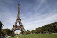 Eiffel Tower of Paris France. Horizontal shot of the Eiffel Tower landmark located in France's capital city, Paris. A famous destination in one of the most Stock Photo