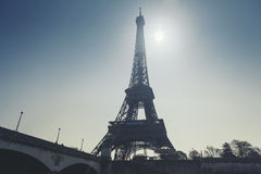 Eiffel Tower in Paris, France. Eiffel Tower and the sun in Paris, France Stock Photos