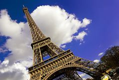 Eiffel Tower, Paris, France. Creative photograph of the Eiffel Tower in Spring sunshine and blue skies Royalty Free Stock Photography