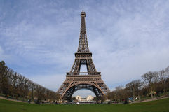 Eiffel Tower in Paris France. View of the Eiffel Tower from the South looking North at the Champ de Mars boulevard stock photography