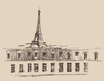 Eiffel Tower, Paris France architecture, vintage engraved illustration, hand drawn Royalty Free Stock Photography