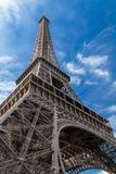 Eiffel Tower in Paris, France on a blue sky.  Stock Image