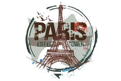 Eiffel Tower. Paris, France city design. Hand drawn illustration stock illustration
