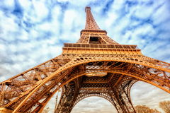 Eiffel Tower, Paris, France. Close up wide view of iconic Eiffel Tower, Paris, France