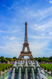 The Eiffel Tower in Paris, France. Eiffel Tower, symbol of Paris. Eiffel Tower in spring time. Stock Photo