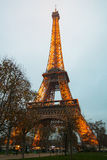 Eiffel Tower, Paris,France  in evening fog. Stock Image
