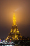 Eiffel Tower, Paris,France  in evening fog. Stock Photography