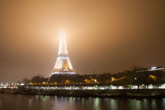 Eiffel Tower, Paris,France  in evening fog. Royalty Free Stock Image