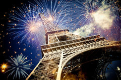 Eiffel tower & x28;Paris, France& x29; with fireworks. Celebrating New Year in the city royalty free stock images
