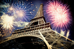 Eiffel tower & x28;Paris, France& x29; with fireworks Royalty Free Stock Images