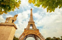 Eiffel Tower in Paris France with Golden Light Rays. Stock Images