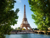 Eiffel tower, Paris. France. Eiffel tower in the green branches, Paris. France Stock Image