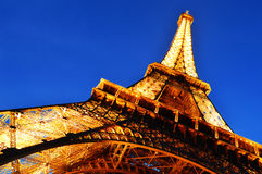 The Eiffel Tower in Paris, France by night Royalty Free Stock Photography