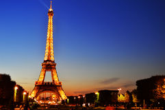 The Eiffel Tower in Paris, France by night.  Stock Images