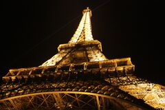 Eiffel Tower, Paris, France at night Stock Images
