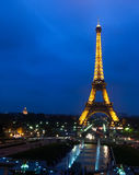 Eiffel Tower. Paris, France, November 12, 2005. Night view of the Eiffel Tower from the Trocadero Stock Images