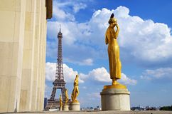 Eiffel tower Paris. Eiffel tower in Paris France seen from the Trocadero Royalty Free Stock Photo