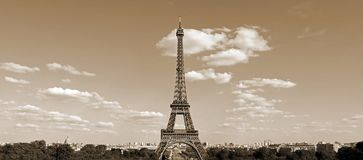 Eiffel Tower in Paris France with sepia effect seen from Hill of. The Chaillot in Trocadero Area in horizontal landscape royalty free stock photos