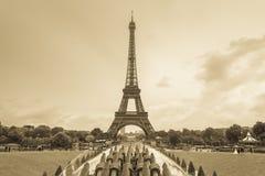 Eiffel tower, Paris, France. Sepia monochrome stock photos