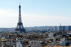 Eiffel Tower, Paris, France, with skyline. Color DSLR wide angle stock image of the landmark, tourist destination Eiffel Tower, Paris, France, with the city Royalty Free Stock Photo