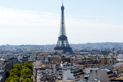 Eiffel Tower, Paris, France, with skyline. Color DSLR wide angle stock image of the landmark, tourist destination Eiffel Tower, Paris, France, with the city Royalty Free Stock Images