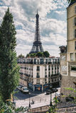 Eiffel Tower in Paris, France. Eiffel Tower and a street in Paris, France stock photography