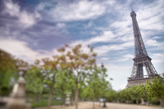 Eiffel tower in Paris, France. Tilt shift image Royalty Free Stock Images