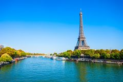 Eiffel Tower in Paris, France. Eiffel Tower or Tour Eiffel is a wrought iron lattice tower on the Champ de Mars in Paris, France royalty free stock photo