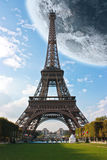 Eiffel Tower Paris France under the moon Royalty Free Stock Photos