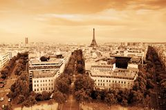 Eiffel Tower, Paris, France. Vintage, monochrome gold Stock Photo