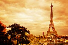 Eiffel Tower in Paris, France. Vintage, retro Stock Photos