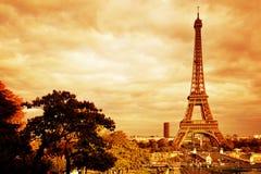 Eiffel Tower in Paris, France. Vintage, retro Stock Photos
