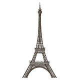 Eiffel tower, Paris, France, on a white background. Illustration. Paris and France, on a white background. sketch Royalty Free Stock Photo