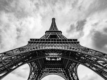 Eiffel Tower, Paris, France. A wide angle, black and white Eiffel Tower shot on a cloudy background. Paris, France stock image
