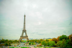 The Eiffel Tower in Paris, France. During winter fall time Stock Photography