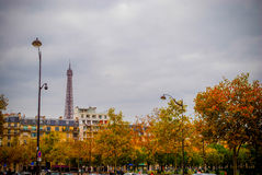 The Eiffel Tower in Paris, France. During winter fall time Stock Photo