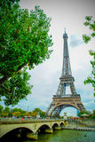 The Eiffel Tower in Paris, France. During winter fall time Stock Images