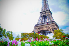The Eiffel Tower in Paris, France. During winter fall time Stock Image