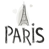 Eiffel tower. Paris hand drawn letter vector illustration poster design Stock Photos