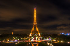 Eiffel Tower in Paris with light performance show at night. Paris, France - October 20, 2016: Eiffel Tower with light performance show at night. The Eiffel Tower Royalty Free Stock Images