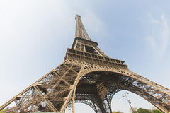 Eiffel tower in Paris. Looking upwards from the base of the tower Stock Images
