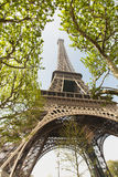 Eiffel tower in Paris. Looking upwards from the base of the tower Royalty Free Stock Photo
