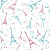 Eiffel tower, Paris, love. Seamless pattern with romantic hearts Stock Photos