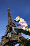 Eiffel tower, Paris, and merry-go-round horse stock images