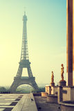 Eiffel Tower in Paris in the morning. Vintage stylized#1 Stock Photo